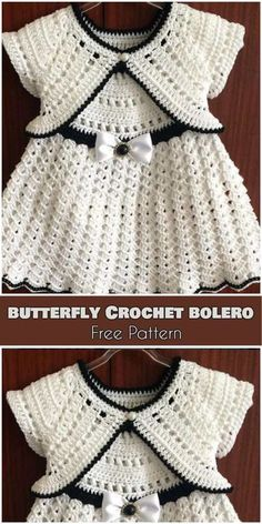 Butterfly Crochet Bolero for Babies and Kids [Free Pattern] - Babykleidung Baby Girl Crochet, Crochet Baby Clothes, Crochet For Kids, Crochet Dress Girl, Crochet Summer, Baby Summer Dresses, Summer Dress Patterns, Baby Bolero, Baby Sweaters