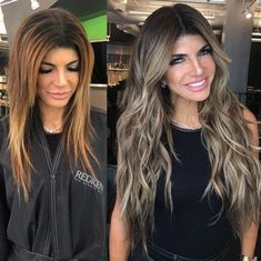 Before & After w/ the gorgeous Teresa Giudice & Wendy Wilker. Brown Hair Balayage, Ash Blonde Hair, Balayage Brunette, Brunette Hair, Hair Highlights, Hair Extensions Before And After, Olaplex Before And After, Long Hair Extensions, Boliage Hair