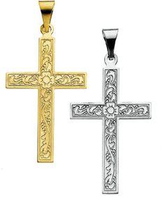 Amazon.com: 14K Yellow or White Gold Cross Pendant 18mm x 12mm (Yellow or White Gold): Jewelry