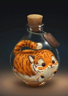 Chubby tiger in a potion bottle!! Digital painting, art,