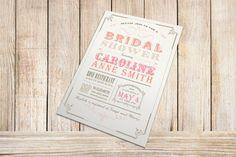 Printable Bridal Shower Invitation - Vintage Typography Poster Design - CHOOSE YOUR COLORS