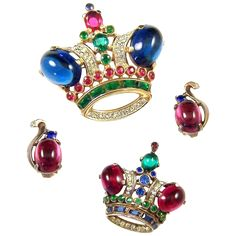 TRIFARI  'Alfred Philippe' Ruby & Sapphire Cabochon Emerald, Sapphire, Ruby, Diamante Rhinestones Queen STERLING Royal Crown Pin, Sterling Clip Earrings, & Large King Royal Crown Pin