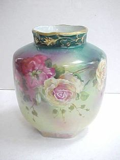 Gorgeous Antique Royal Bayreuth Rose Vase | eBay