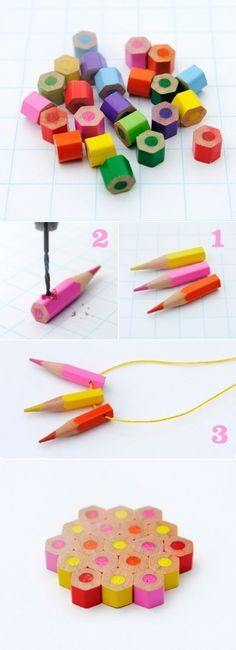 DIY Colored Pencils Jewelry ideas -Not sure about the necklace but you could make something like the bottom thing to be a coaster. Diy Arts And Crafts, Home Crafts, Easy Crafts, Crafts For Kids, Easy Diy, Cool Diy Projects, Projects To Try, Diy Fan, Diy Pencils