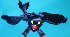 """Dreamworks HOW TO TRAIN YOUR DRAGON 17"""" Plush TOOTHLESS NIGHT FURY Bendable Wing…"""