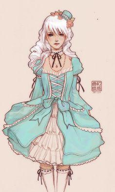 Blue fancy lolita romantic girl with white hair