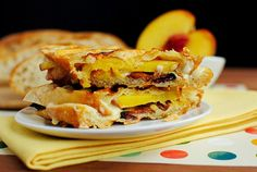 Bacon, Cheese & Peach Paninis by iowagirleats #Panini #Bacon #Peach #iowagirleats
