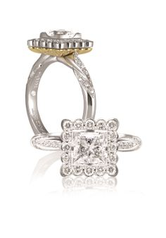 Saachi Princess Cut Elegance Diamond Ring. 18ct White Gold with complimenting Yellow Gold, Princess and Round Brilliant Cut Diamonds Ring. One from the original Saachi range and still in a class of it's own. Now available at Paradises Facet 58 Jewellers.