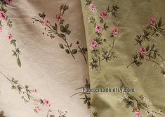 Rosa Rose Baumwolle Leinen Stoff Pink Rose Blume auf von fabricmade
