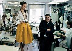Caroline Trentini and Alber Elbaz  At the Lanvin atelier. Photographed by Annie Leibovitz, Vogue, September 2004