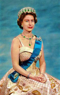 Queen Elizabeth II wearing the Vladimir of Russia Tiara (emerald setting), United Kingdom (1880; emeralds, diamonds). Originally made for the Grand Duchess Vladimir of Russia.