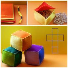 Daily Colours : DIY - Sensory Cubes  fill cubes with different things like rice, beans, noodles, etc.