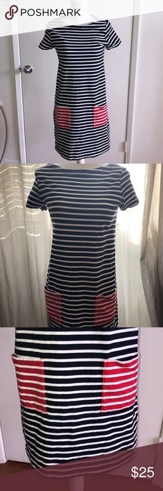 Tommy Hilfiger Striped Dress! Striped dress with two pockets in front. It has a tiny stain on the right sleeve. 100% cotton. See pics. Tommy Hilfiger Dresses Mini