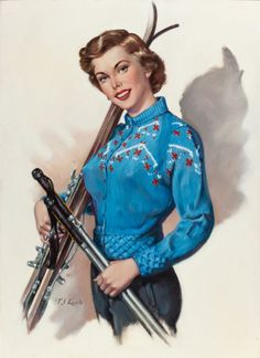 Pin-up and Glamour Art, T. (TED) KUCK (American, d. The Skier, Brown &Bigelow calendar illustration. Oil on canvas board. 30 x . Pin Up Drawings, Vargas Girls, Pin Up Posters, Ski Season, Calendar Girls, Photo Pin, Nose Art, Pin Up Art, Winter Sports