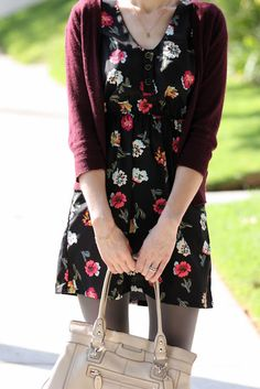 floral dress with maroon cardigan and grey tights. Grey Tights, Grey Leggings, Tight Dresses, Casual Dresses, Maroon Cardigan, Floral Dress Outfits, Floral Jeans, Career Wear, Autumn Winter Fashion