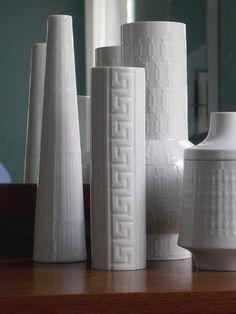 White Modern Vase Porcelain Modernist German by MidCenturyFLA