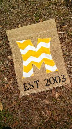 Burlap flag, sew on letter, paint whatever, clear coat spray!!! :)  follow us on facebook @ - https://www.facebook.com/#!/EMsCorner1