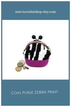 Coin Purse Zebra Print, Kiss Lock Coin Purse, Gift for Her This elegant Kiss lock coin purse is great to store your coins, some cash, cards, a key and a lipstick. This Coin purse is the perfect accessory in your bag. It will be the original and perfect gift for those women who like to surround themselves with creative, elegant and original things. #marvicrochet #animalprint #animalprintzebra #coinpurseanimalprint #coinpurse #kisslock #accessorybag #giftforwomen #madeinspain Lock Style, Unique Gifts For Women, Crochet Bags, Crochet Designs, Zebra Print, Bag Accessories, Sunglasses Case, Coins, Coin Purse