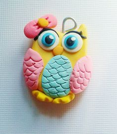 Owl bow centers or pendant  (coral owl, pink owl, blue owl) by crystalnruby on Etsy