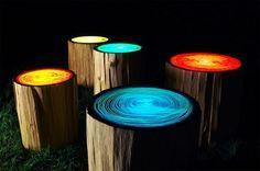 Tree Ring stump table by Judson Beaumont, Straight Line Designs, Patio Lighting, Tree Lighting, Lighting Ideas, Lighting Design, Log Stools, Outdoor Stools, Outdoor Seating, Backyard Seating, Outdoor Tables