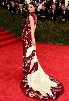 """Best Dressed at Met Gala 2015 ″Spring elegant"""": - Bee Shaffer in Alexander Mcqueen Sakura flowers and crane birds embroidered long train burgundy dress at the Metropolitan Museum of Art Costume Institute Gala 2015 """"China: Through the Looking Glass""""."""