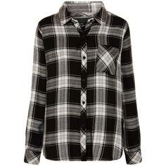 Rails Hunter Plaid Shirt, Black Ash ($190) ❤ liked on Polyvore featuring tops, shirts, flannels, shirts & tops, tartan shirt, long sleeve tops, extra long sleeve shirts and plaid collared shirts