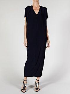 Elegant black dress, simple, needs a drape-y fabric.