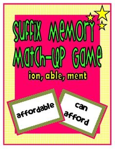 Use this easy-to-assemble suffix game to help students learn the meaning of the suffixes able, ion, and ment. Student match up the suffix word wit...