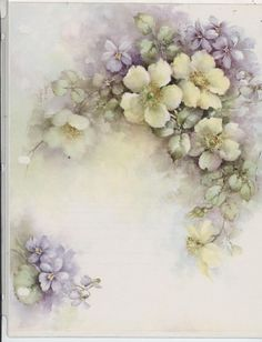 Yellow Wild Roses & Violets #71 by Sonie Ames  China Painting Study 1976