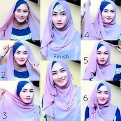 I have collected hijab styles step by step tutorial. It consists of steps required to wear beautiful hijab styles. These steps for hijab styles are easy. Tutorial Hijab Pesta, Hijab Style Tutorial, Scarf Tutorial, Simple Hijab Tutorial, Style Hijab Simple, Simple Outfits, Stylish Outfits, Hijabs, Beau Hijab