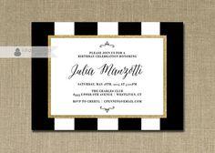 Black & White Birthday Invitation Gold Glitter Stripes Classic Formal Modern Script Printable DIY Digital or Printed - Julia Style
