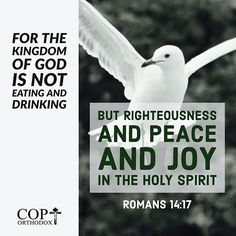 Romans 14:17 for the kingdom of God is not eating and drinking, but righteousness and peace and joy in the Holy Spirit.