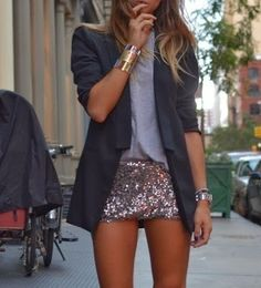Simple outfit with sparkle shorts