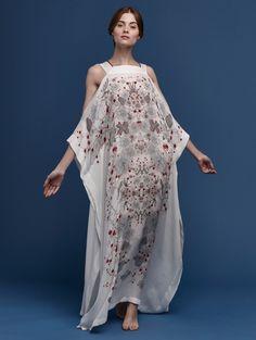 printed open shoulder silk kaftan white red cherry blossom
