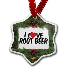 Christmas Ornament I Love Root beer - Neonblond >>> Want to know more, click on the image. (This is an affiliate link) #Ornaments