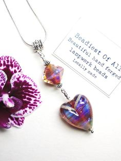 Dichroic Lampwork Handmade Glass Pendant Multistrand necklace with off white cords ribbon Hippie Purple Black Copper /& Colors Bohemian