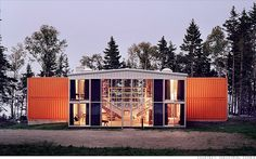 container home with glass middle