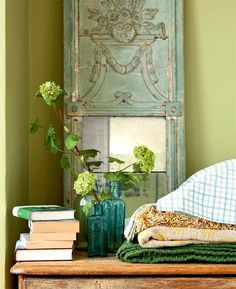 styling ideas for tables, chests and consoles | laurel home blog love the chartreuse apple greeen and teal mixed with brown
