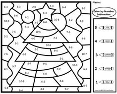 Christmas Subtraction Color by Number Bundle by Primary Piglets Christmas Worksheets, Christmas Math, Tree Coloring Page, Coloring Pages, Math Stations, Math Centers, Christmas Color By Number, Math Coloring Worksheets, Subtraction Activities