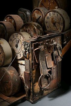 old clocks - Ron Pippin Old Clocks, Antique Clocks, Vintage Clocks, Rustic Clocks, Vices & Virtues, Brown Aesthetic, Aesthetic Vintage, Ticks, Abandoned Places