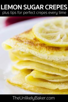 Lemon sugar crepes - soft and airy French crepes drizzled with fresh lemon juice and sprinkled with sugar. So simple but so delicious. Lemon Dessert Recipes, Crepe Recipes, Brunch Recipes, Breakfast Recipes, Lemon Crepes Recipe, Snacks Recipes, Lemon Recipes, Breakfast Ideas, Yummy Recipes