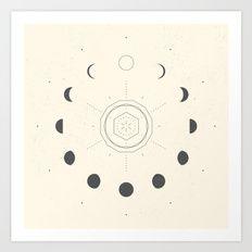 Moon Phases Light Art Print