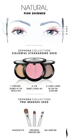 NATURAL Eye Shadow: Pink Shimmer HOW TO. #sephoracollection #sephora #eyeshadow