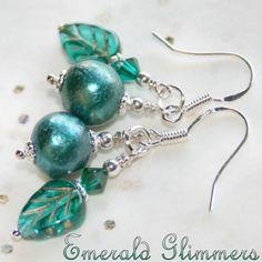 Emerald GLIMMERS Pearl & Crystal Earrings 925 Sterling Silver earwires by Maru Jewelry Designs | whosmaru - Jewelry on ArtFire