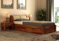 Buy Walken Bed With Storage crafted with Sheesham Wood Online in India. Get Wooden Bed With Storage (Queen Size, Honey Finish) @ Wooden Street Wooden Bed With Storage, Single Beds With Storage, Bed Designs With Storage, Bed Storage, Storage Drawers, Buy King Size Bed, Wooden King Size Bed, King Size Bed Designs, Double Bed Designs