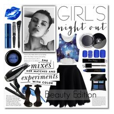 """""""Girl's Night Out, Beauty Edition"""" by miee0105 ❤ liked on Polyvore featuring beauty, GE, Chicwish, Static Nails, Illamasqua, Christian Dior, Lipstick Queen, Marc Jacobs, Manic Panic and Chanel"""