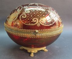 "Huge 9"" Antique Bohemian Engraved Crystal Egg-Forn Art Glass Box  c1890"