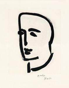 "Henri Matisse, ""Jeune étudiant de profil"" (Junger Student im Profil), Aquatintaradierung auf BFK Rives 1952"