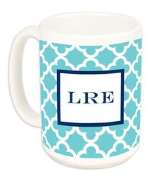 15 oz Teal Bristol Tile Ceramic Mugs