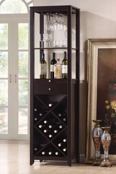 Austin Brown Wood Modern Wine Tower By Baxton Studio features MDF with dark brown rubber wood veneer, wine glass storage slots, lattice - style wine rack, drawer and sliding cutting board, and silver drawer pulls and hardware. Wine Glass Storage, Wine Glass Rack, Wine Racks, Liquor Storage, Glass Shelves, Bar Interior, Brown Interior, Wine Tower, Do It Yourself Organization